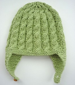 Baby Earflap Cabled Hat Knitting Pattern Image