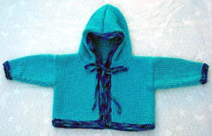 Baby Hooded Sweater Knitting Pattern Photo