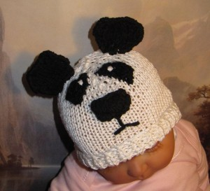 Baby Panda Beanie Knitting Pattern Picture