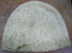 Beanie Hat with Flower Knitting Pattern Instruction