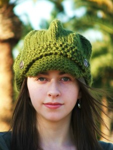 Beanie Knitting Pattern with Visor Tutorial Image