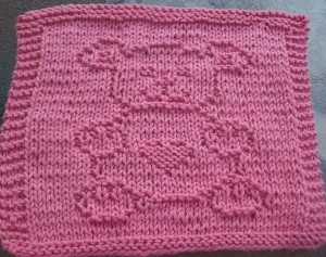 Bear With Heart Knit Dishcloth Pattern Photo