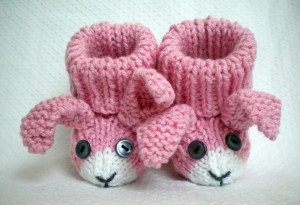 Picture of Bunny Rabbit Baby Booties Knitting Pattern