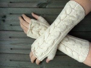 Cable Knit Fingerless Gloves Pattern Images