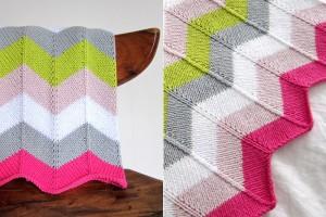 Image of Chevron Baby Blanket Knitting Pattern