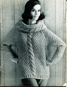 Chunky Cable Knit Cowl Sweater Pattern Picture