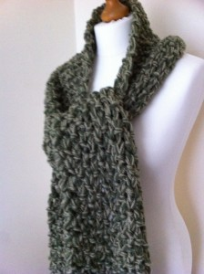Chunky Moss Scarf Knitting Pattern Instruction Photos