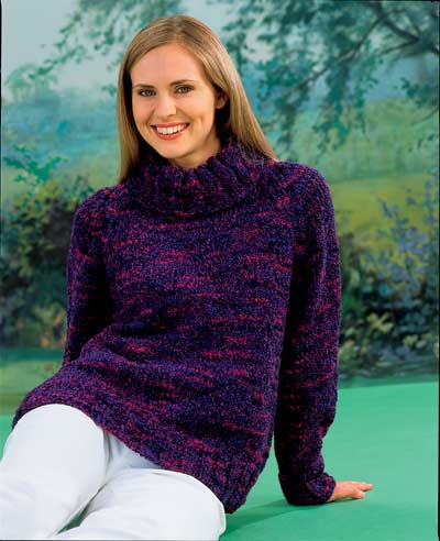 Picture of Chunky Polo Neck Sweater Knitting Pattern de3230430