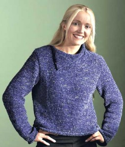 Chunky Split Neck Sweater Knitting Pattern Image