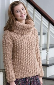 Chunky Textured Knit Sweater Pattern Picture
