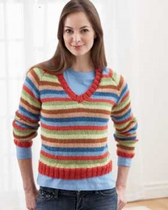 Colorful Striped Sweater Knitting Pattern For Women Photo