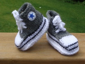 Converse Baby Booties Knitting Pattern Photo