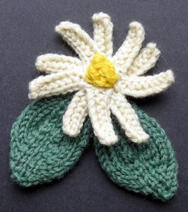 Corsage Flower and Leaves Knitting Pattern Image