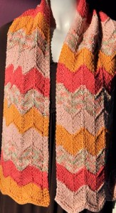 Pictures of Cotton Twirl Chevron Scarf Knitting Pattern