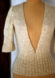 Deep V-Neck Sweater Knitting Patterns Images
