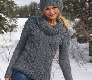 Picture of Easy Cables Knit Sweater Pattern