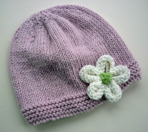 Easy Simple Hat with Flower Knitting Pattern Pictures