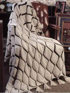 Photos of Embossed Diamonds Afghan Knitting Pattern