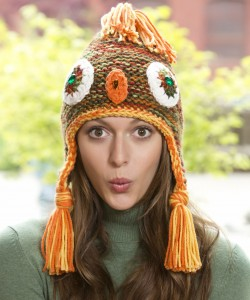 Free Hooded Owl Hat with Earflaps Knitting Pattern Photos