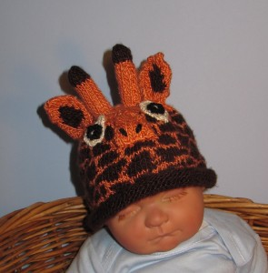 Giraffe Hat Knitting Pattern with Rolled Brim Tutorial Photos
