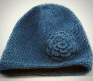Hat with Garter Stitch Flower Knitting Pattern Photos
