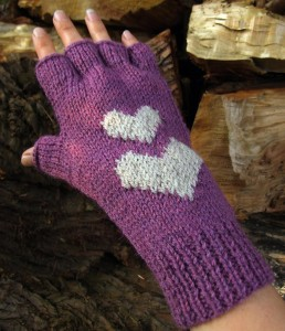 Hearts Fingerless Gloves Knitting Pattern Images