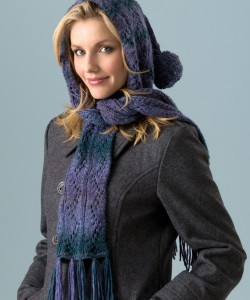 Pictures of Hooded Lace Scarf Knitting Pattern Tutorial