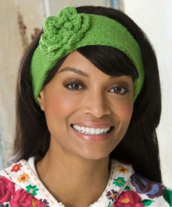 Photos of Knit Headband with Flower Patterns