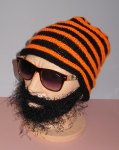 Knitted Beanie with Beard Pattern Images