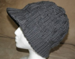 Knitting Beanie with Visor Pattern Photos