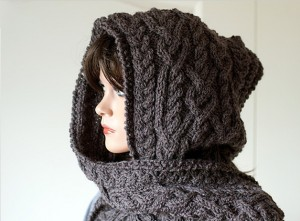 Photos of Knitting Pattern for Hooded Scarf Ingrid