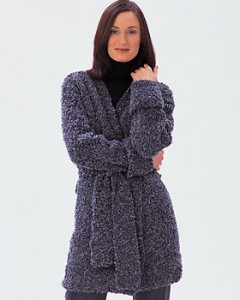 Long Boucle Wrap Chunky Sweater Knitting Pattern Photo