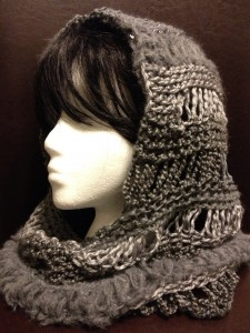 Image of Loom Knitting Hooded Cowl Pattern