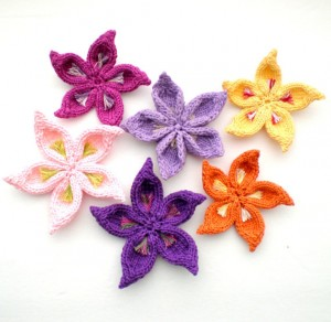 Multicolored Flower Knitting Pattern Instruction Photo