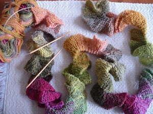 Multicolored Potato Chip Scarf Knit Pattern Photo