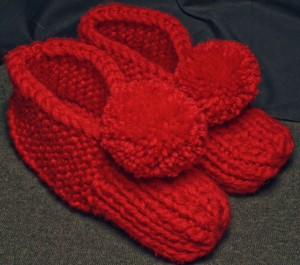 Photos of Pom Pom Slipper Knitting Pattern