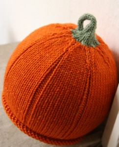 Pumpkin Knitted Hat Pattern Tutorial Images