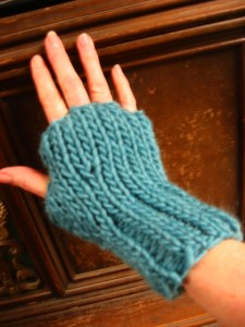 Rib and Stockinette Knit Fingerless Gloves Pattern Photo
