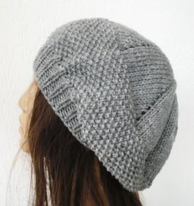 Seed Stitche Beret Knit Hat Pattern Image