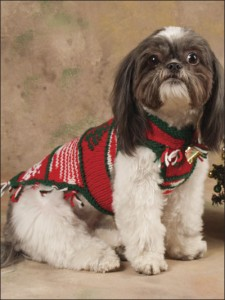 Pictures of Snowflakes & Tree Dog Sweater Knitting Pattern
