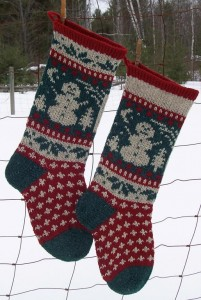 Snowman Christmas Stocking Knitting Pattern Image
