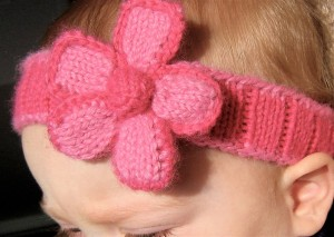 Spring Baby Flower Headband Knitting Pattern Picture