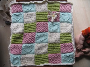 Textured Block Baby Blanket Heart Knitting Pattern Picture