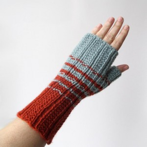 Pictures of Two Color Fingerless Gloves Knitting Pattern