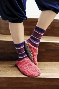 Two Color Knitted Slipper Pattern Pictures