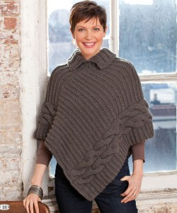 Pictures of Cabled & Collared Poncho Knitting Pattern