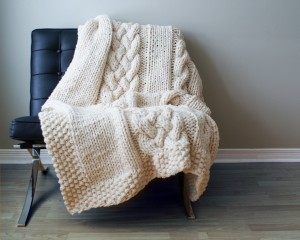 Chunky Double Cabled Blanket Knitting Pattern Photo