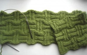 Photos of Basket Weave Scarf Knitted Pattern