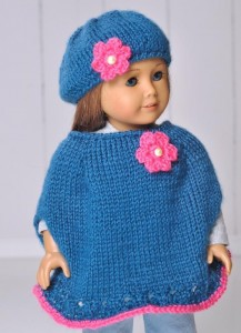 American Girl Doll Poncho and Beret Knit Pattern Photos