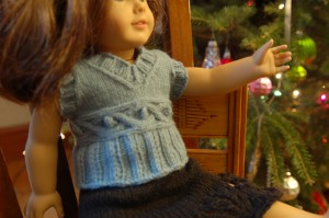 Photos of Free American Doll Girl Cabled Knitting Pattern